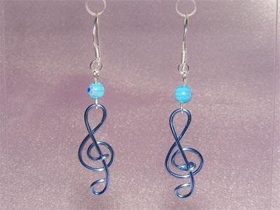 Music jewellery blue lampwork glass earrings