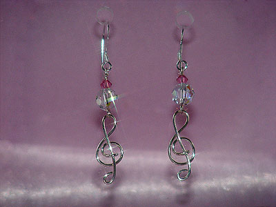 Music themed 925 Swarovski crystal earrings