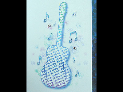 Music themed accoustic guitar Birthday card