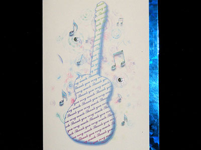 Music themed accoustic guitar Thank You Card
