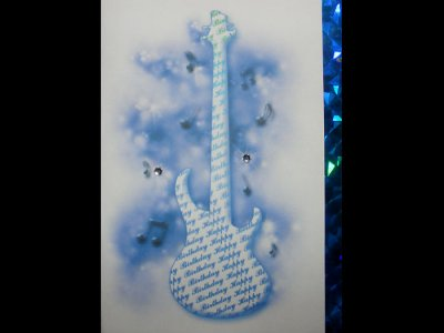 Music themed bass guitar Happy Birthday card