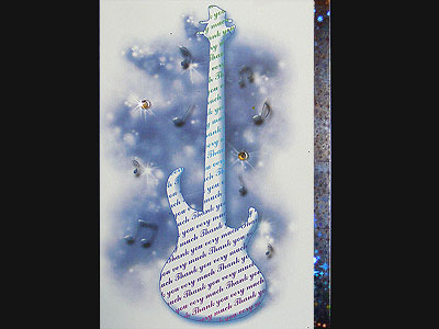 Music themed bass guitar Thank You card