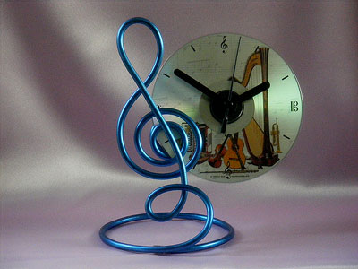 Music themed gifts blue treble clef CD clock