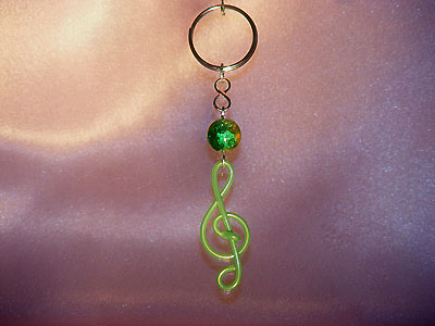 Music themed green treble clef key ring