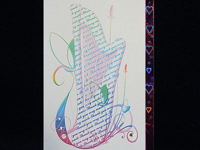Music themed harp Thank You card