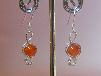 Music themed orange veins Agate earrings