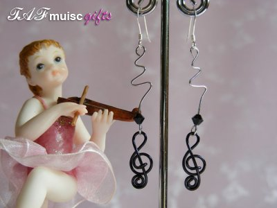 music themed black Swarovski bead earrings