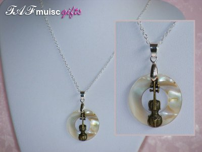 Music themed shell violin necklace