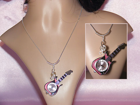 Musician gifts guitar long necklace watch