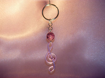 Musician gifts purple treble clef key ring