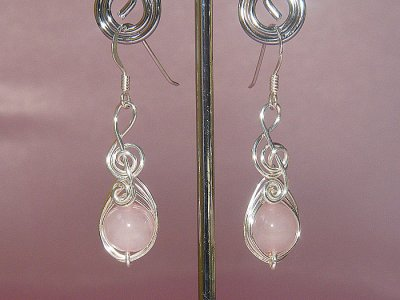 Musician gifts Rose pink quartz earrings