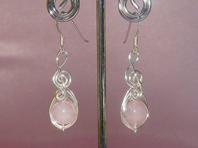 Musician gifts Rose pink quartz earrings