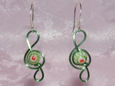 Musician jewellery green lampwork glass earrings
