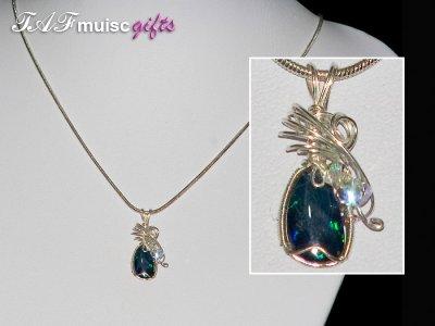 Navy blue opal doublet handmade necklace