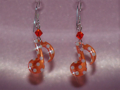 Orange quaver music note Swarovski earrings