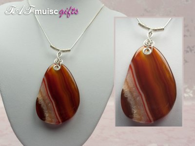 Orange druzy Agate music themed necklace