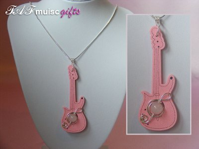 Pale pink guitar quartz long necklace