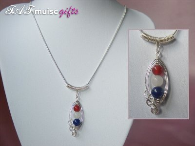 Patriotic themed Agate marquise music necklace
