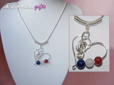 Patriotic themed Red white blue Agate heart music necklace