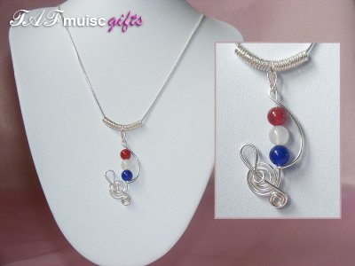 Patriotic themed Red white blue Agate music necklace