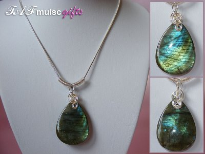 Pear drop Labradorite music themed necklace