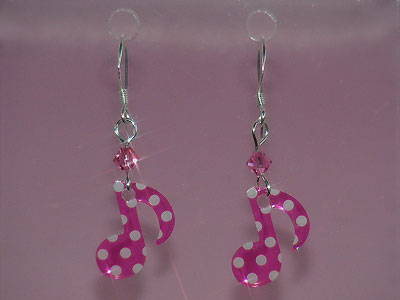 Pink quaver music note Swarovski earrings