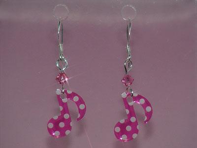 Pink quaver music note Swarovski earrings