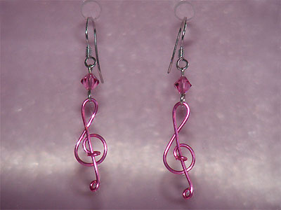 Pink Swarovski crystal music themed earrings