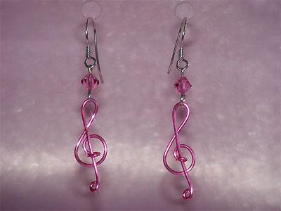 Pink Swarovski crystal music themed earrings