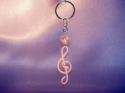 Pink treble clef music note key ring