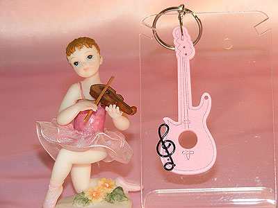 Pink wooden Strat guitar key ring