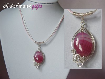 Pink oval Agate handmade music themed necklace