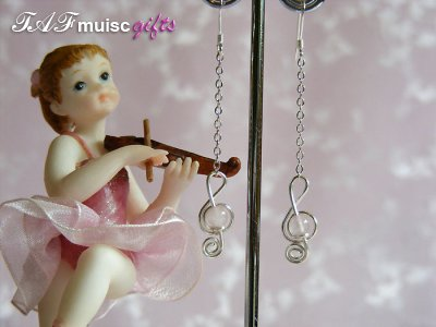 Pink rose quartz treble clef music themed earrings