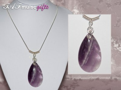 Purple Amethyst handmade music themed necklace