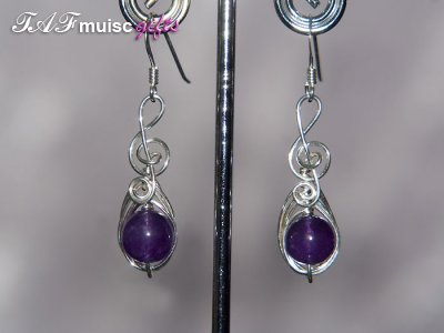 Purple Amethyst Music themed earrings