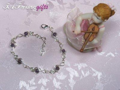 Purple Amethyst treble clef music themed bracelet