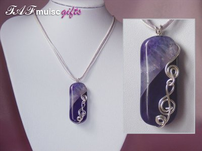 Purple rectangular Agate handmade music themed necklace