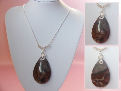 Red pear drop Jasper music themed necklace