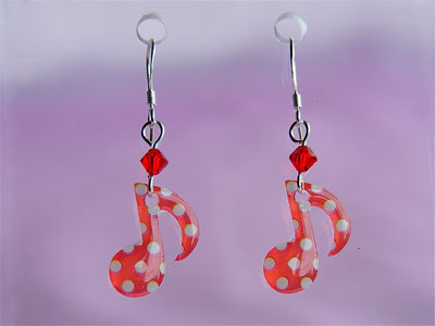 Red quaver music note Swarovski earrings
