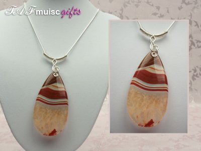 Red druzy Agate music themed necklace