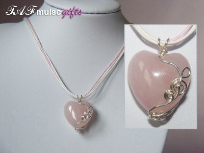 Rose pink heart quartz handmade music themed necklace