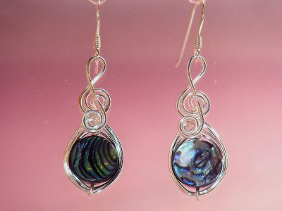 Round Abalone shell music themed earrings