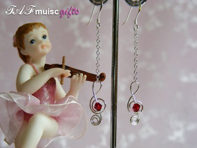 Siam red Swarovski crystal treble clef earrings