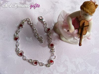 Siam red Swarovski crystal treble clef music themed bracelet