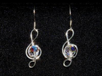 Silver treble clef music note Swarovski earrings