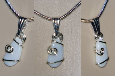 Simple design hand cut opal necklace