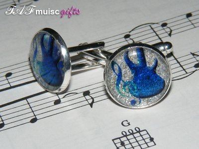 Sparkling blue bass guitar treble clef cufflinks