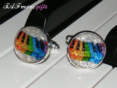Sparkling colourful piano or keyboard cufflinks