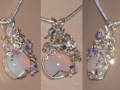 Sprial design hand cut opal Swarvoski necklace