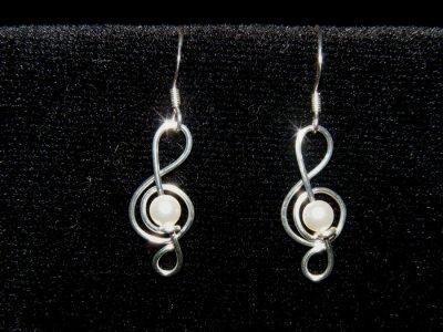 Swarovski pearls beads music themed earrings